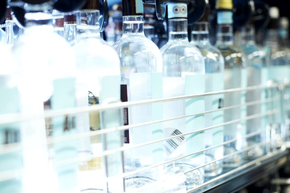 Bottles of vodka lined up.