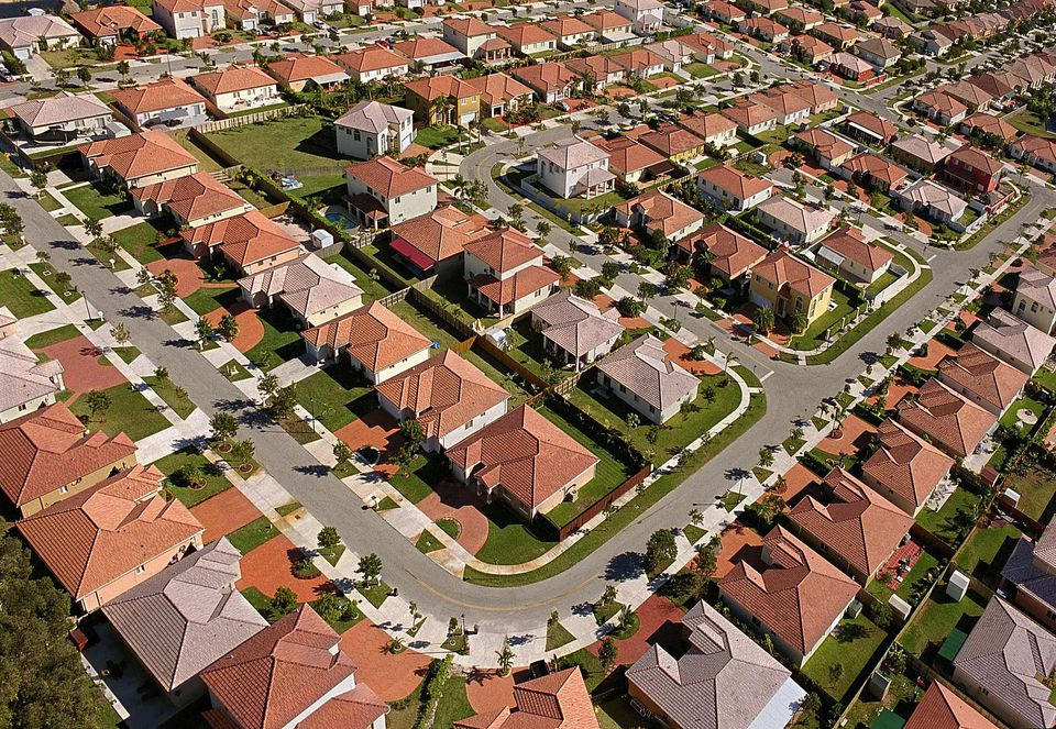 USA, Florida, streets of houses, aerial view