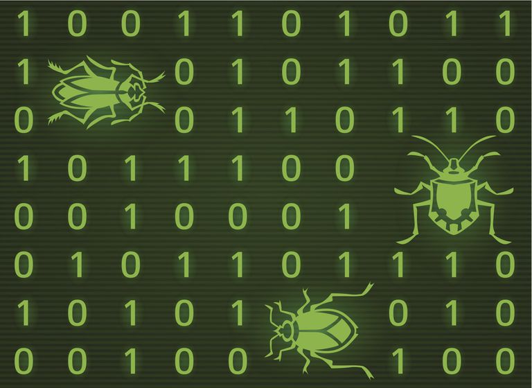 Image of bugs in computer binary code