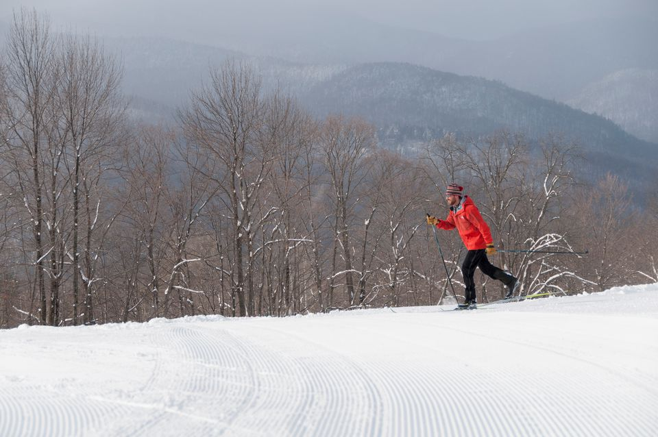 USA, Vermont, Stowe, Rugged young man cross country skiing
