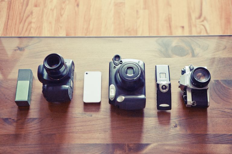Cameras from all eras in a row