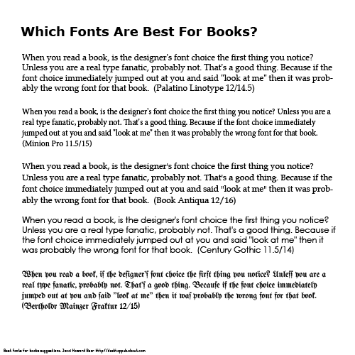 Best Fonts for Books
