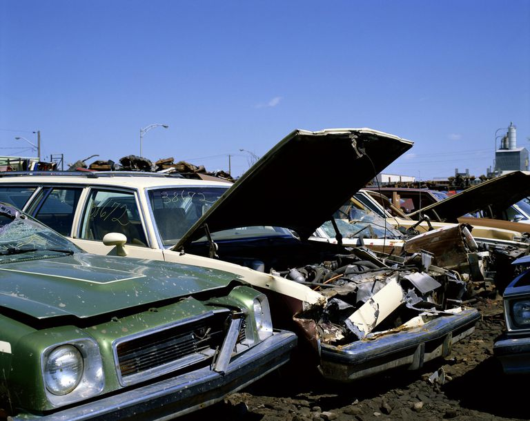Wrecked cars in junkyard, Laval, Quebec, Canada