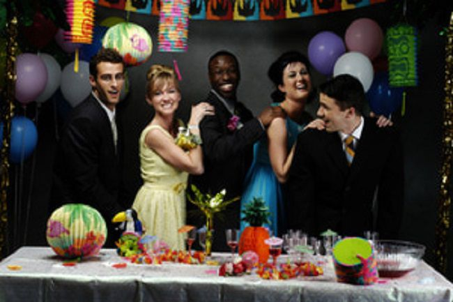 Teens at prom party