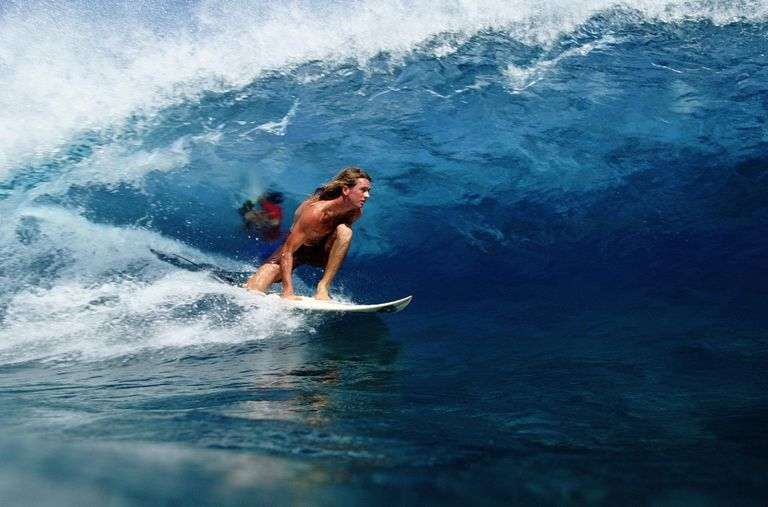 Sufer in Barrel, Tahiti