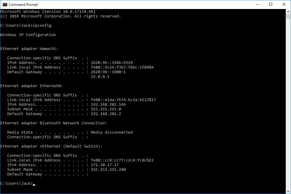 Screenshot of the ipconfig command in a Command Prompt