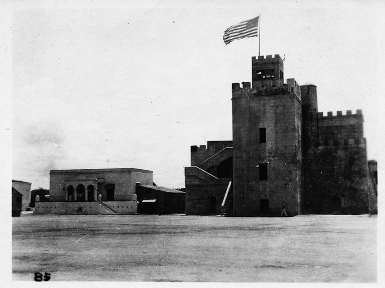 The Flag of the United States waving over Ozama Fortress.
