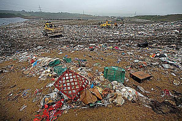 Garbage and municipal waste in a landfill