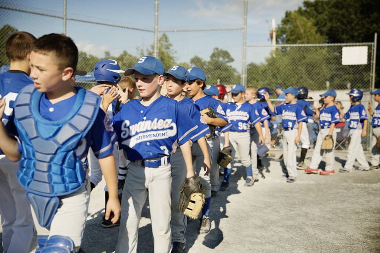 Baseball for kids - post-game greeting