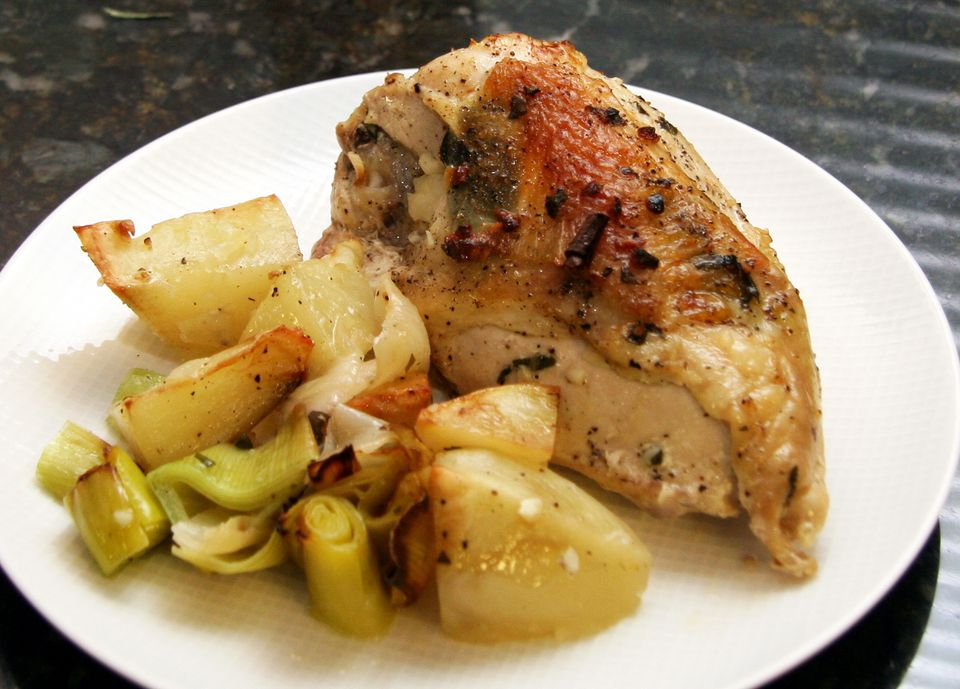 Roasted Chicken Breasts With Leeks And Potatoes