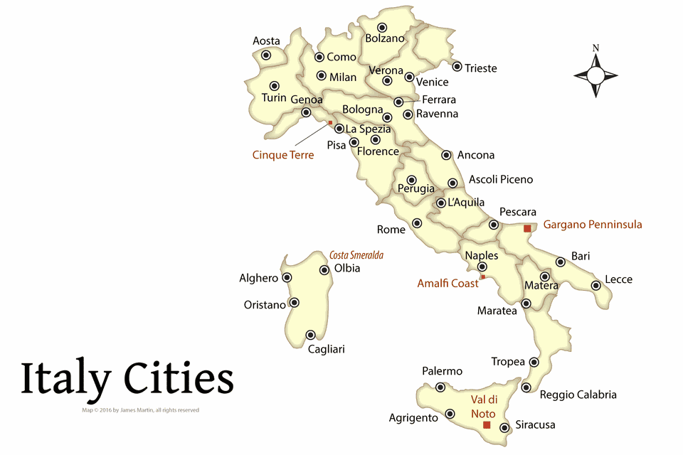 Map Of Italy Showing Cities And Major Italian Attractions