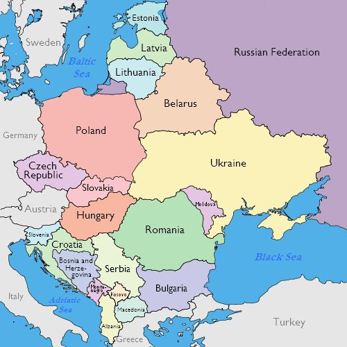 Maps Of Eastern European Countries - Europe map with country names and capitals