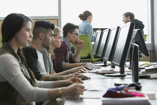 students on computers