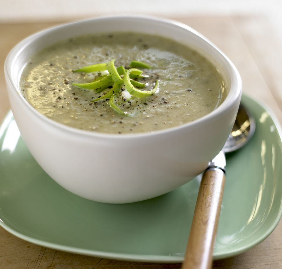 Leek and potato soup, close up