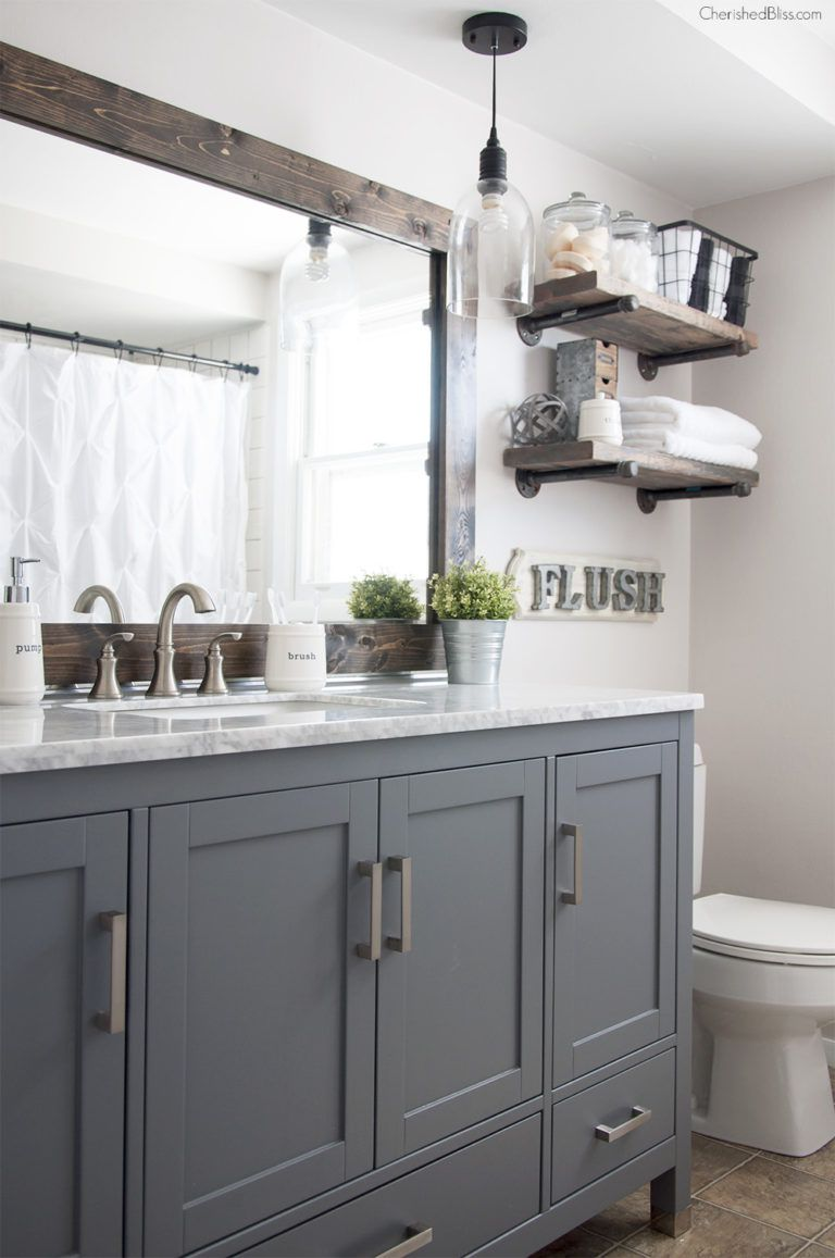 Gray And White Farmhouse Industrial Bathroom