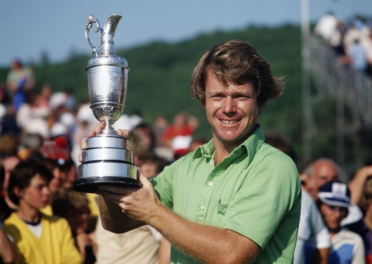 5-time winner Tom Watson holds the Claret Jug following the 1977 British Open