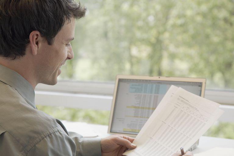 Businessman analyzing data