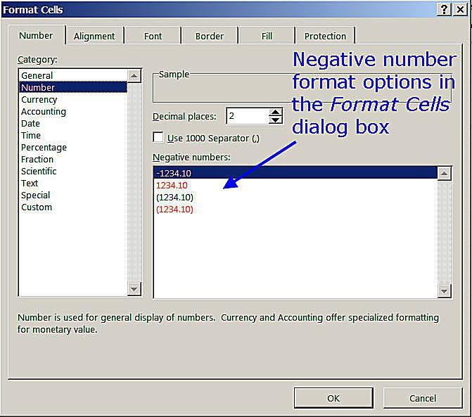 Negative Number Format Options in the Excel Format Cells Dialog Box