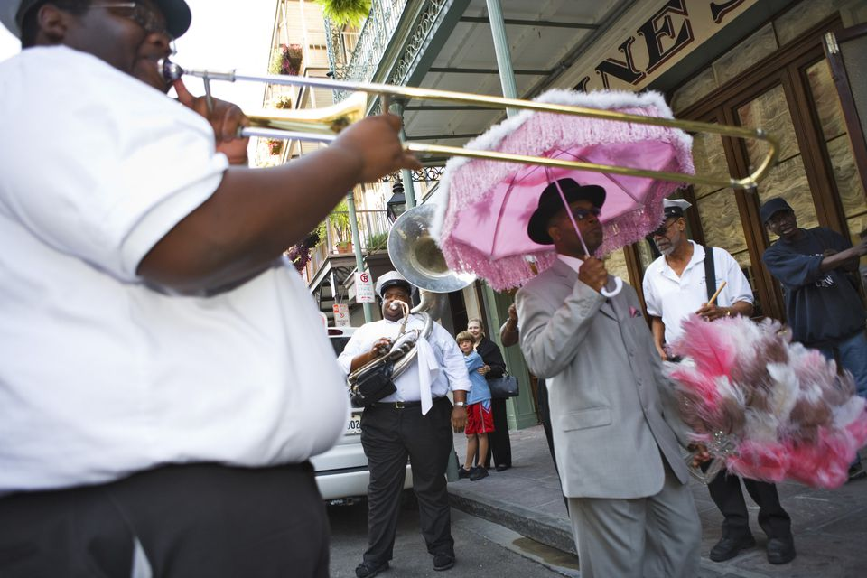 Second Line Parades have a long tradition: these are musicians who join funeral parades usually uninvited, French Quarter, New Orleans, Louisiana, USA