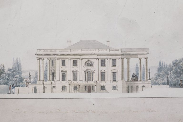 Profile of North and South Porticos from the East Facade of the President's House, the White House by B. H. Latrobe
