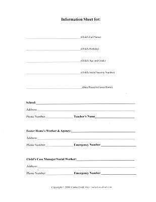 Basic Information Worksheet for Foster Care Binder