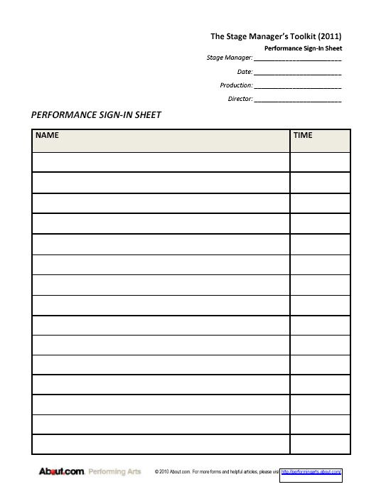 Forms for Stage Managers: Checklists and Sign-In Sheets