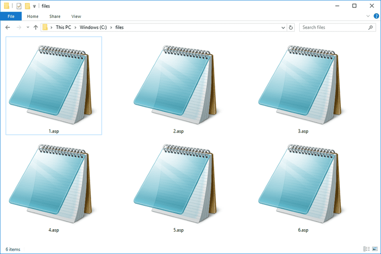 Screenshot of several ASP files in Windows 10 that open with Notepad