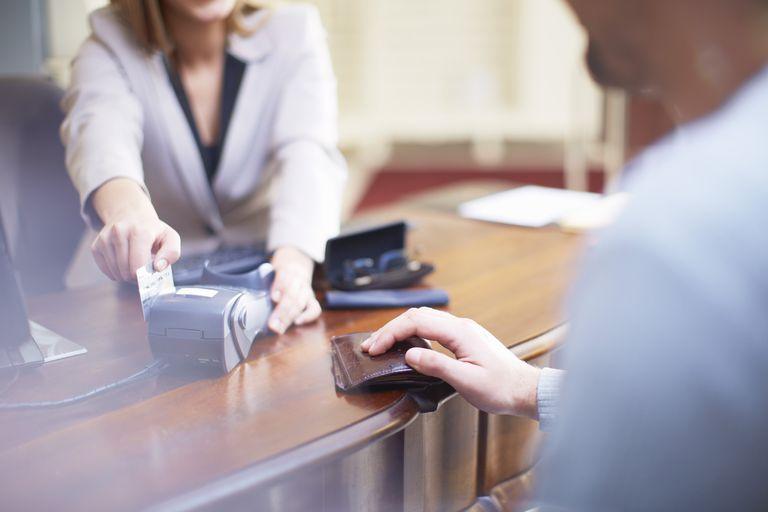 Man making a bank transaction