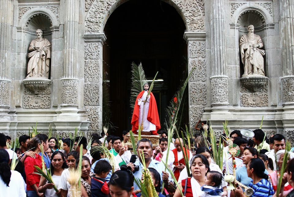 Semana Santa Easter Festival at Oaxaca Cathedral.