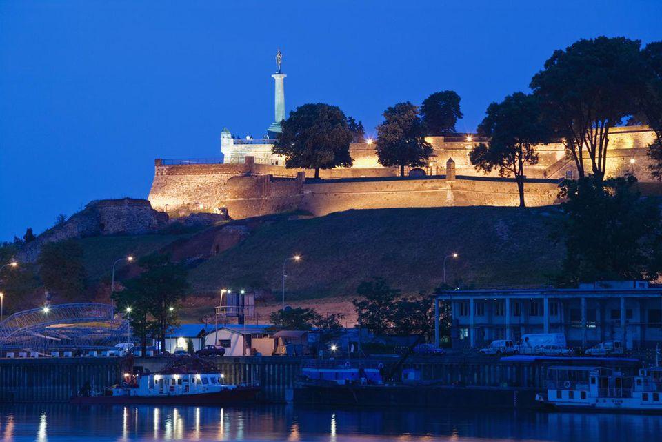 Kalemegdan Citadel illuminated at dusk, Belgrade, Serbia