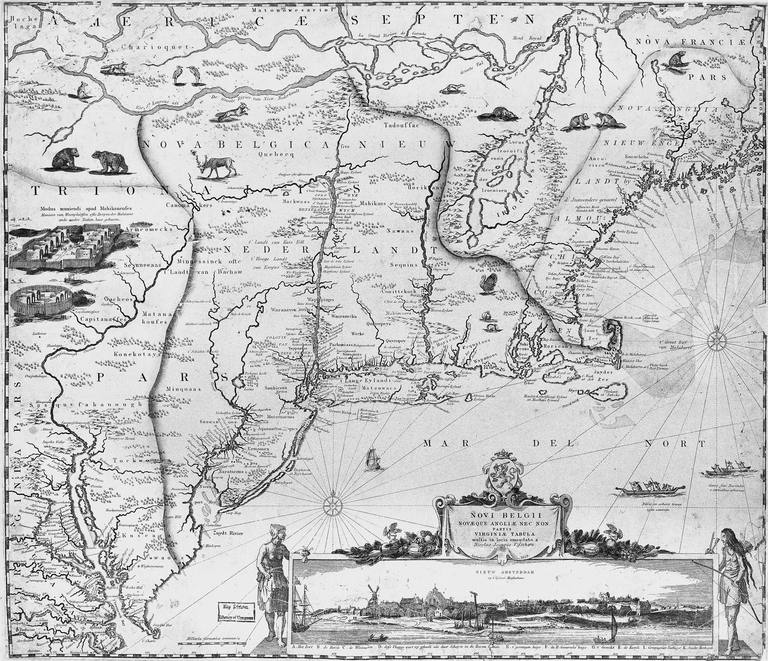 17th century map of New England