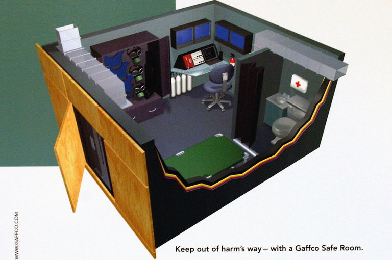 Model of a bullet and flame-resistant safe room by the Gaffco company.