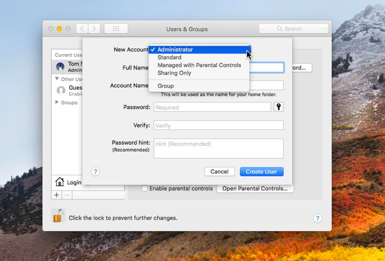 Adding an administrator account to macOS