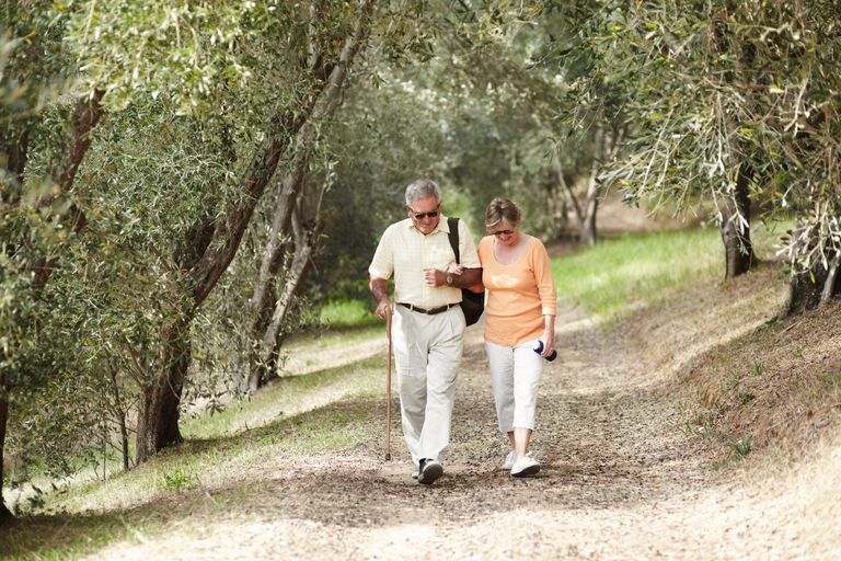 Elderly couple walking down a path in the woods