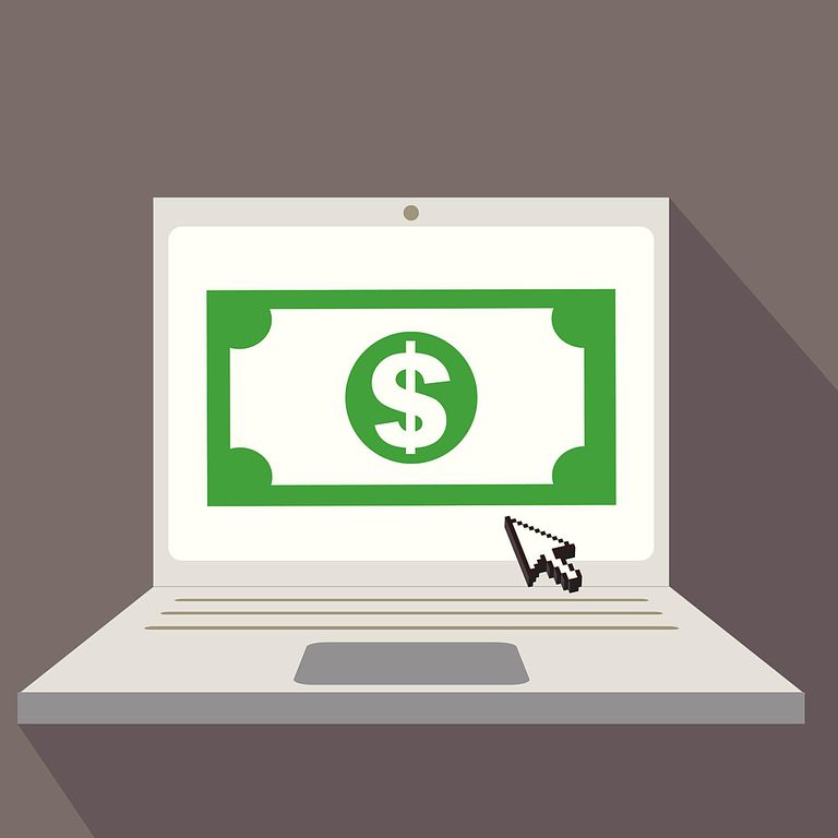 Money on computer screen