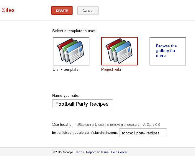 Easy steps to create your own project wikis football party recipes screen captureann augustine name the site football party recipes screen captureann augustine pronofoot35fo Image collections