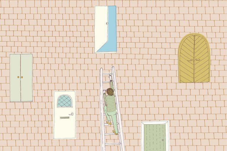 Climbing ladder to open door