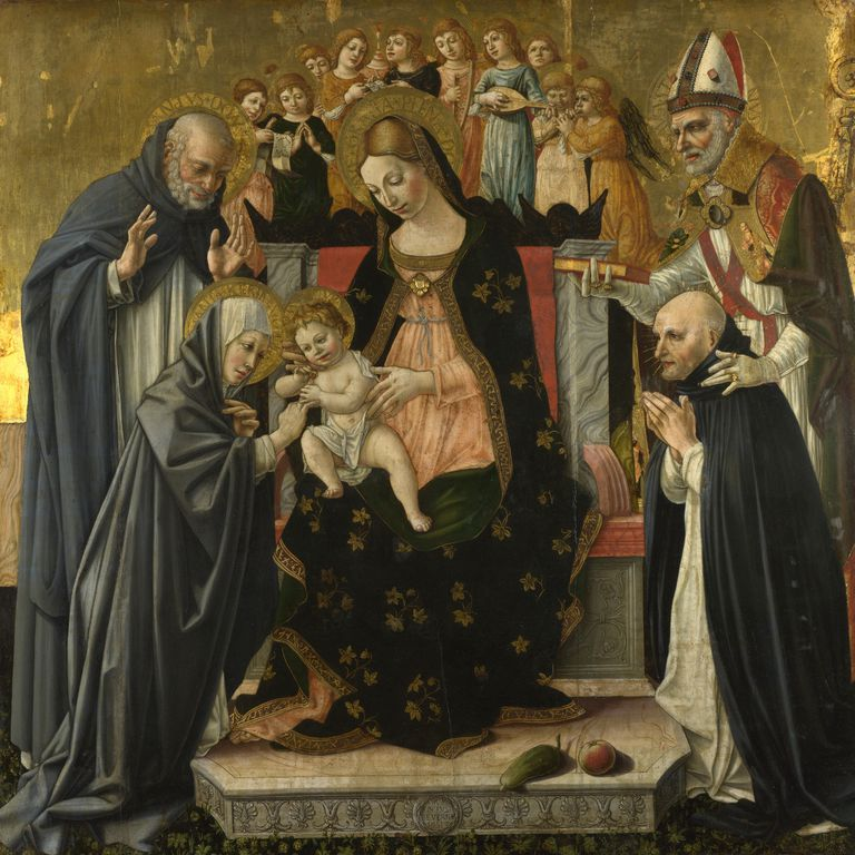 Painting: The Mystic Marriage of Saint Catherine of Siena, by Lorenzo d'Alessandro about 1490-95