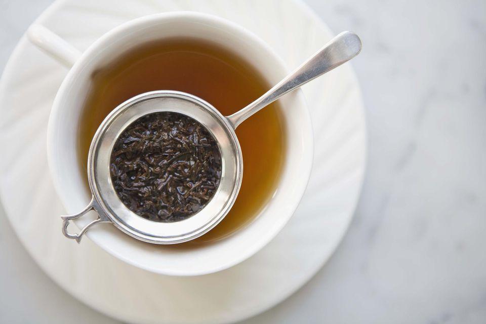 Steeping Earl Grey tea
