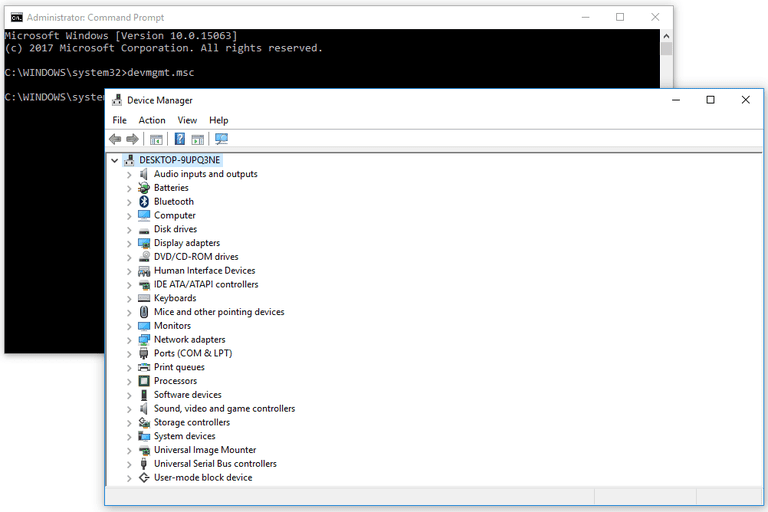 Screenshot of Device Manager being opened with the devmgmt.msc Command Prompt command