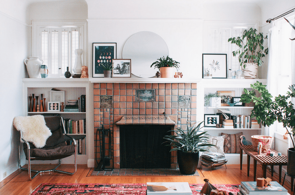 Clay tile fireplace