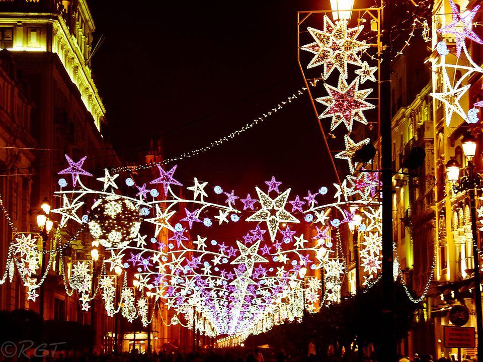 Christmas lights in Seville, Spain
