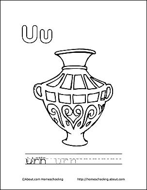 Urn Coloring Page Letter U 2