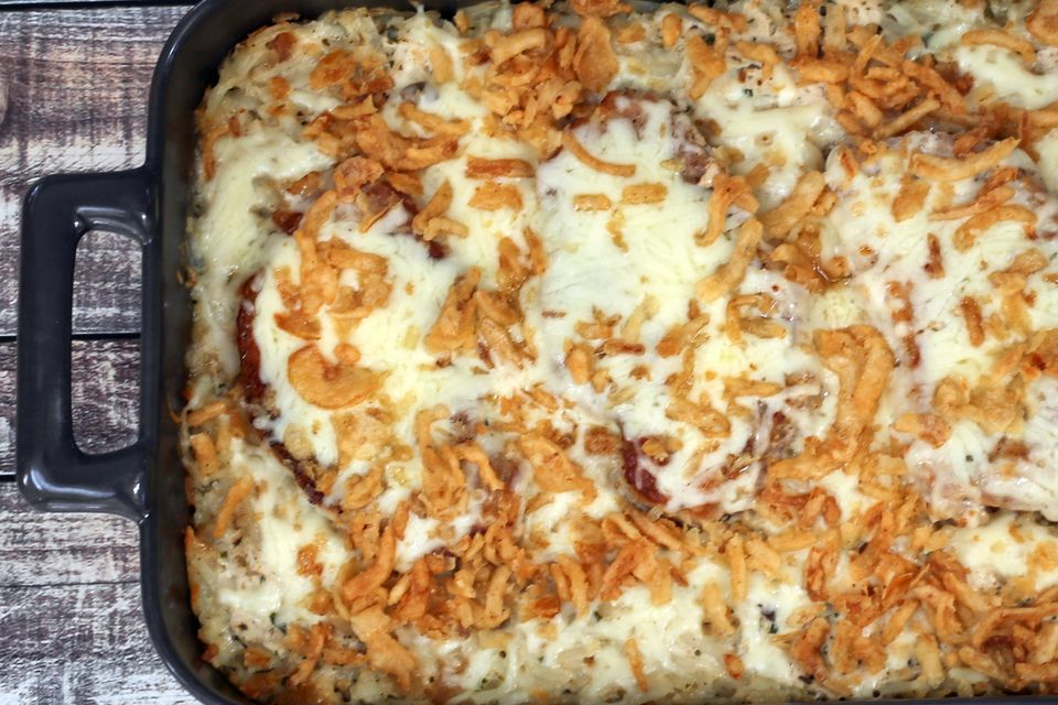 pork chops and hash browns in a casserole