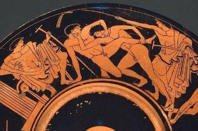 2 Youths Wrestling and Trainers. Drinking cup (kylix), by Onesimos, c. 490-480 B.C. Red-Figure.