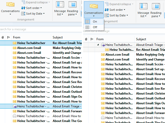 Conversation View in Windows Live Mail: Off vs. On