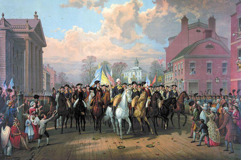"""Evacuation day"" and Washington's triumphal entry in New York City, Nov. 25th, 1783"