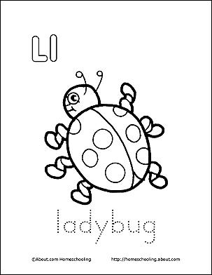 ladybug coloring page letter l 4 - L Coloring Page