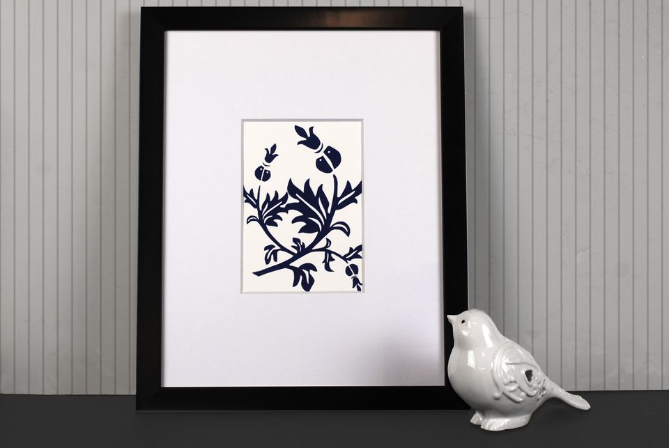 blue and white paper cut picture