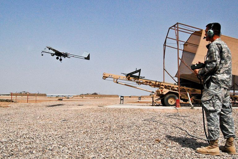 Spc. Raymond Poltera, Tactical Unmanned Aerial Vehicle operator, 1st Brigade Combat Team, 4th Infantry Division, Multi-National Division-Baghdad, launches an RQ-7B Shadow 200 TUAV from a pneumatic launcher at the aircraft's primary launch and recovery site on Camp Taji Aug. 11, 2008. The Shadow provides commanders on the ground all throughout the MND-B area of operations the ability to quite literally see the entire battlefield. As the leading provider and provisional authority for the MND-B's airspace, the Fort Hood, Texas, based Combat Aviation Brigade, 4th Inf. Div., provides and maintains the launch and recovery site for the entire fleet of Shadow TUAVs.